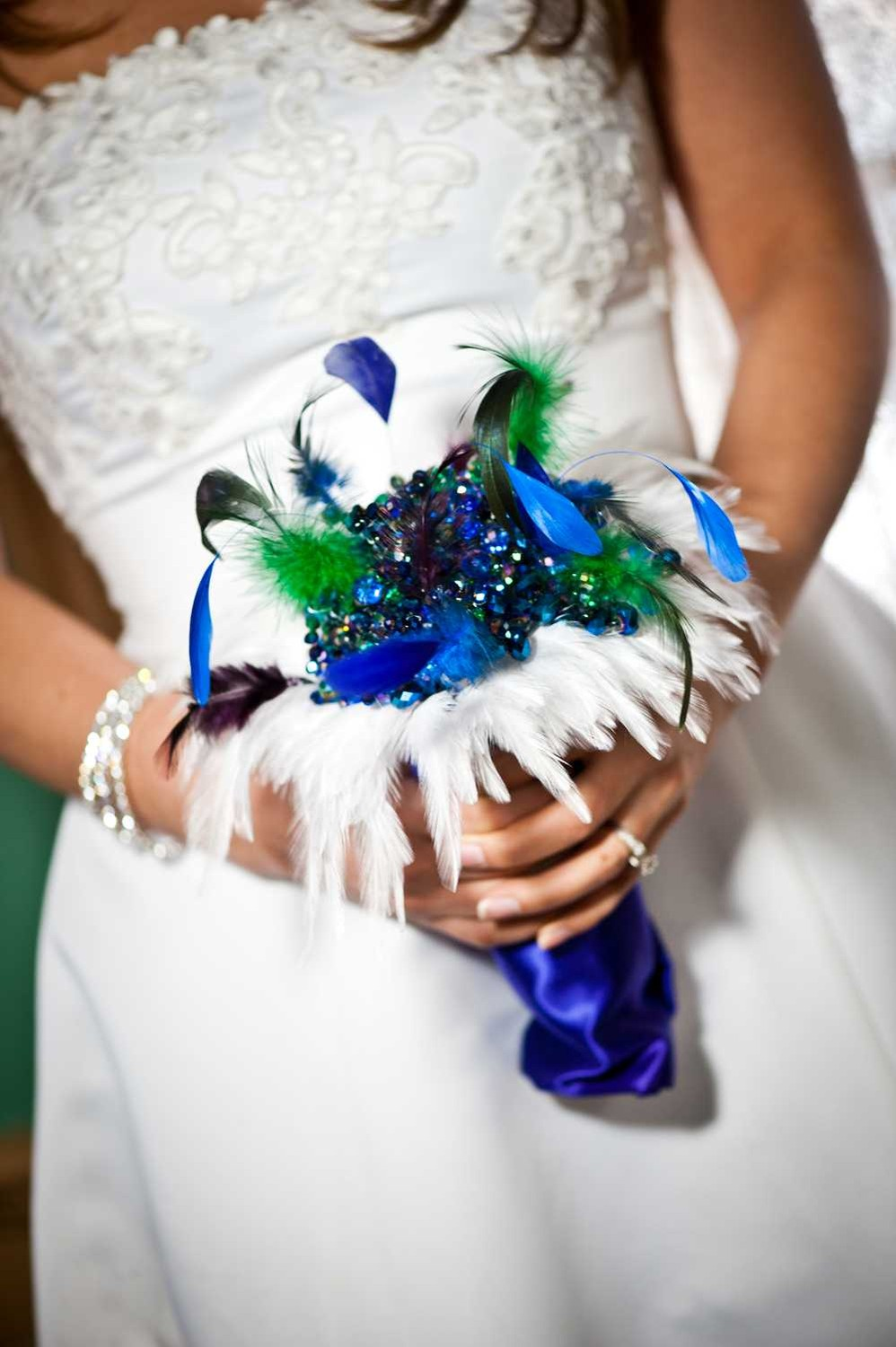 Wedding Bouquets With Feathers And Crystals : Crystal pearl brooch or feather wedding bouquets and