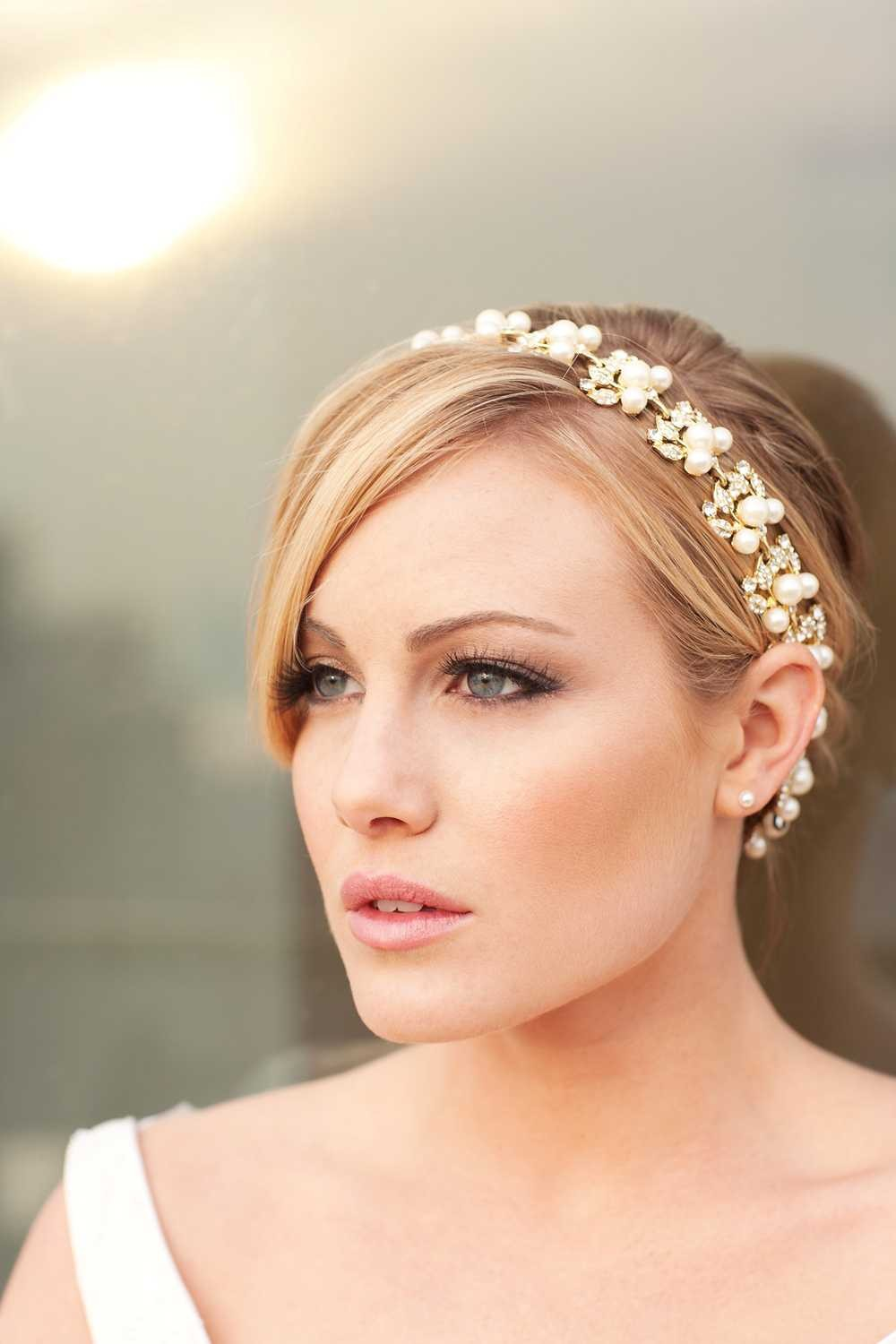 Jacqueline Stunning Golden Rhinestone And Pearl Ribbon