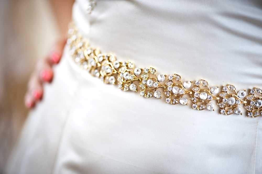 Collette glamourous gold crystal jeweled bridal belt for How to make a beaded belt for a wedding dress